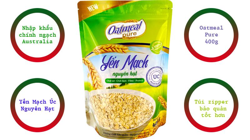 yến mạch cán dẹt oatmeal pure